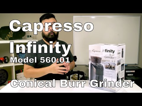 The Capresso 560.01 Infinity Conical Coffee Burr Grinder Unboxed