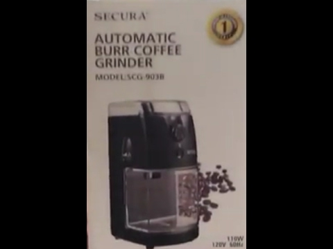 Secura Automatic burr coffee grinder Unboxing and quick demo